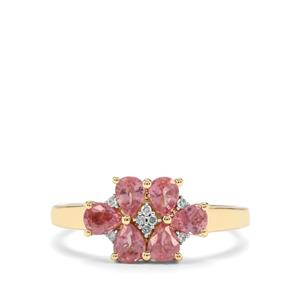 Padparadscha Sapphire & Diamond 9K Gold Ring ATGW 1.28cts