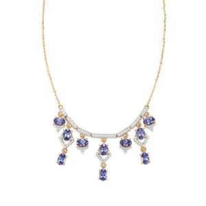 AAA Tanzanite Necklace with Diamond in 18K Gold 4.96cts
