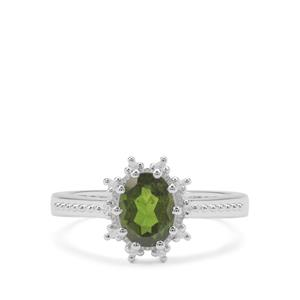 Chrome Diopside Ring with White Zircon in Sterling Silver 1.34cts