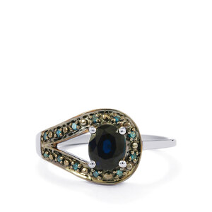 Ceylon Sapphire & Blue Diamond 9K White Gold Ring ATGW 0.96cts