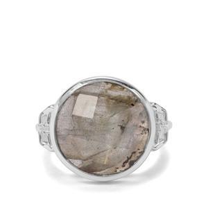 Labradorite & White Zircon Sterling Silver Ring ATGW 7.88cts