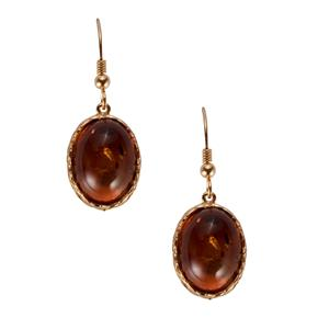 Baltic Cognac Amber Earrings in Gold Plated Sterling Silver (16 x 12mm)