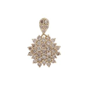 Champagne Argyle Diamond Pendant in 9K Gold 1cts