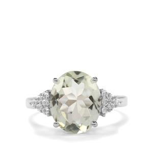 Prasiolite & White Topaz Sterling Silver Ring ATGW 4.15cts