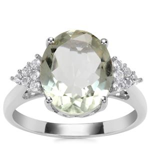Prasiolite Ring with White Topaz in Sterling Silver 4.15cts