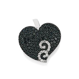Black Spinel Pendant with White Topaz in Sterling Silver 3.96cts