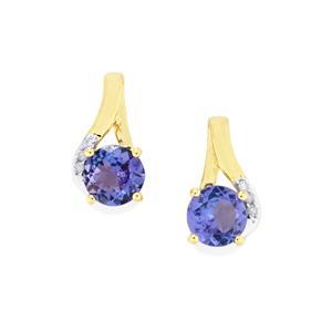 AA Tanzanite Earrings with Diamond in 9K Gold 1.23cts