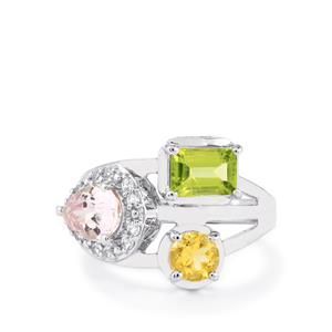 3.21ct Kaleidoscope Gemstones Sterling Silver Ring