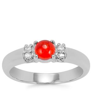 Ethiopian Red Opal Ring with White Zircon in Sterling Silver 0.39cts