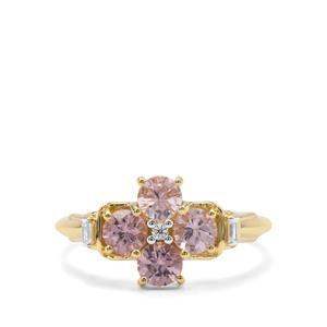 PinAndhra Pradesh k Spinel & White Zircon 9K Gold Ring ATGW 1.11cts