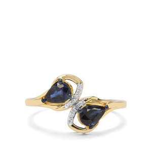 Natural Nigerian Blue Sapphire & Diamond 9K Gold Ring ATGW 1cts