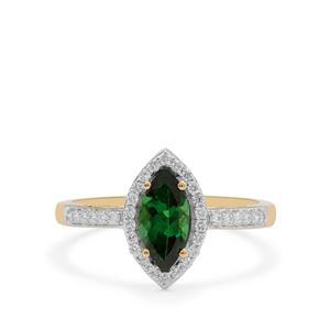 Tsavorite Garnet & Diamond 18K Gold Tomas Rae Ring MTGW 1.22cts