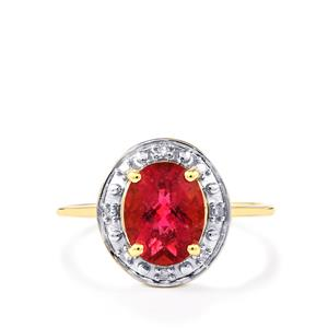 Cruzeiro Rubellite Ring with Diamond in 10k Gold 1.76cts