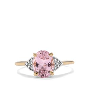 Minas Gerais Kunzite & Diamond 9K Gold Ring ATGW 2.56cts