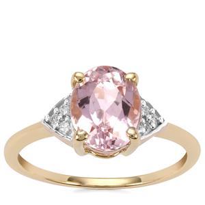 Minas Gerais Kunzite Ring with Diamond in 10K Gold 2.56cts