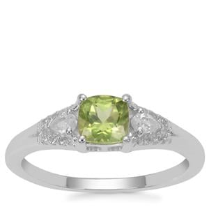 Red Dragon Peridot Ring with White Zircon in Sterling Silver 0.88ct