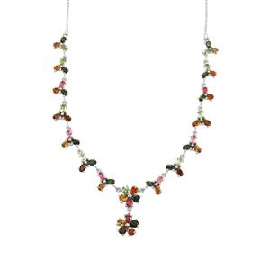 11.20ct Rainbow Tourmaline Sterling Silver Necklace