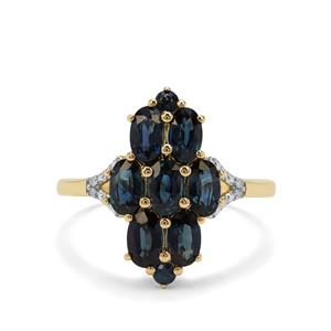 Australian Blue Sapphire Ring with Diamond in 9K Gold 2.24cts