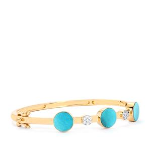 Sleeping Beauty Turquoise Oval Bangle with White Zircon in Gold Plated Sterling Silver 4.40cts