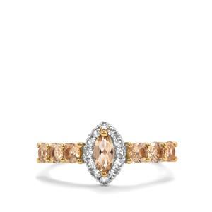 Ouro Preto Imperial Topaz & White Zircon 9K Gold Ring ATGW 1.27cts