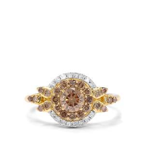 1.02ct Champagne & White Diamond 9K Gold Ring