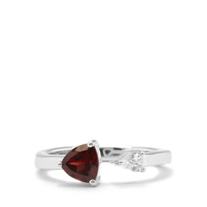 Rajasthan Garnet Ring with White Zircon in Sterling Silver 1.10cts
