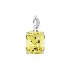 Green Gold Quartz & White Topaz Sterling Silver Barion Cut Pendant ATGW 5.71cts