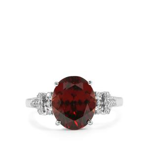 Zanzibar Zircon Ring with Diamond in 18K White Gold 5.29cts