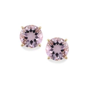 6.39ct Rose De France Amethyst 10K Gold Earrings