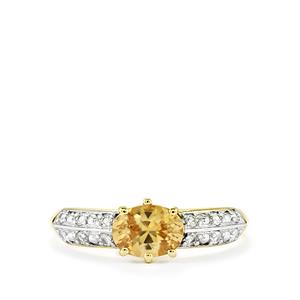 1.20ct Ceylon & White Zircon 9K Gold Ring