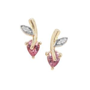 Sakaraha Pink Sapphire Earrings with Diamond in 9K Gold 0.80ct