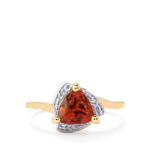 Zanzibar Zircon & Diamond 9K Gold Ring ATGW 1.82cts