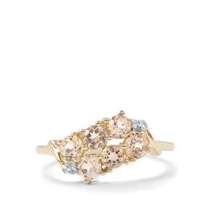 Ouro Preto Imperial Topaz & Diamond 10K Gold Ring ATGW 1.05cts