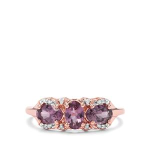 Mahenge Purple Spinel & Diamond 9K Rose Gold Ring ATGW 1.51cts