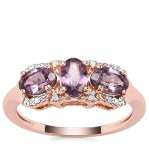 Mahenge Purple Spinel Ring with Diamond in 9K Rose Gold 1.51cts