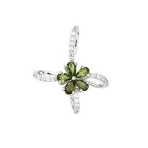 Chrome Tourmaline Pendant with White Zircon in Sterling Silver 1.11cts