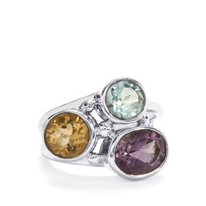 Bahia Amethyst, Diamantina Citrine Ring with Swiss Blue Topaz in Sterling Silver 4.30cts