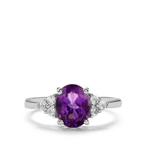 Moroccan Amethyst Ring with White Topaz in Sterling Silver 2cts