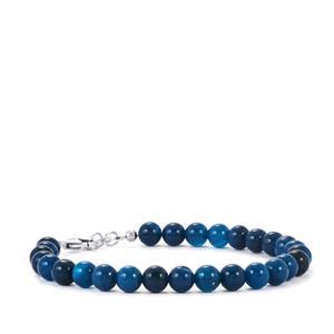 Blue Onyx Bead Bracelet in Sterling Silver 43cts