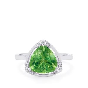 Fern Green Quartz & White Topaz Sterling Silver Centuple Ring ATGW 3.20cts