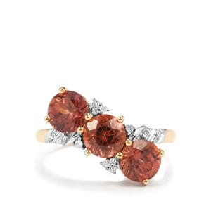 Zanzibar Zircon Ring with Diamond in 18K Gold 4.13cts