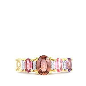 Natural Sakaraha Rainbow Sapphire Ring with Diamond in 9K Gold 2.38cts
