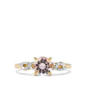Nigerian Morganite & Diamond 9K Gold Ring ATGW 1.02cts