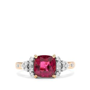 Comeria Garnet Ring with Diamond in 18K Gold 2.63cts