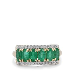 Zambian Emerald Ring with White Zircon in 9K Gold 1.60cts