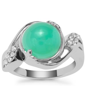 Prase Green Opal Ring with White Zircon in Sterling Silver 4.76cts