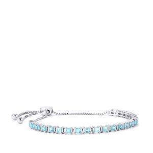 Swiss Blue Topaz Slider Bracelet in Sterling Silver 3.15cts