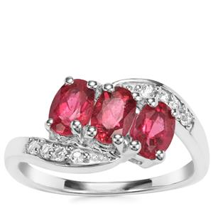 Cruzeiro Rubellite Ring with White Topaz in Sterling Silver 1.48cts