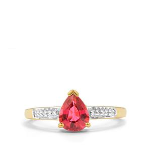 Nigerian Rubellite & Diamond 18K Gold Tomas Rae Ring MTGW 1.14cts