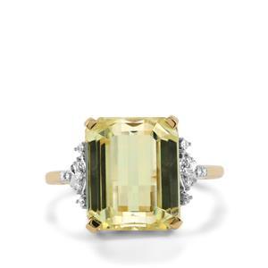 Canary Kunzite & Diamond 18K Gold Lorique Ring MTGW 9.30cts
